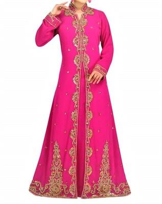 pink georgette kaftan with zari and stone work islamic-kaftan