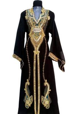 black georgette kaftan with zari and stone work islamic-kaftan