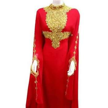 red georgette farasha with zari and stone work farasha