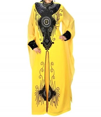 yellow georgette kaftan with zari and stone work islamic-kaftan