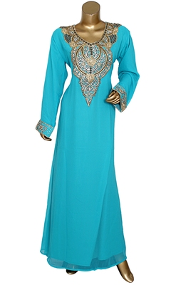 Mint Green Embroidered Crystal & Beads Embellished Traditional Chiffon Kaftan Gown