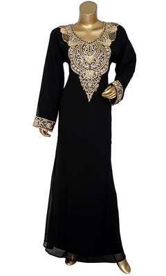Black Embroidered Crystal & Beads Embellished Traditional Chiffon Kaftan Gown