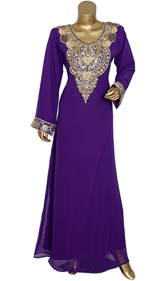 Purple Embroidered Crystal & Beads Embellished Traditional Chiffon Kaftan Gown