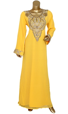 Yellow Embroidered Crystal & Beads Embellished Traditional Chiffon Kaftan Gown
