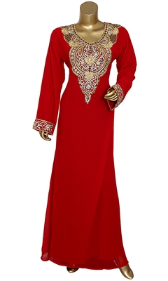 Red Embroidered Crystal & Beads Embellished Traditional Chiffon Kaftan Gown