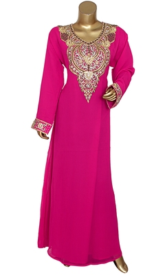 Fuchsia Pink Embroidered Crystal & Beads Embellished Traditional Chiffon Kaftan Gown