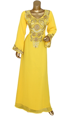 Yellow Embroidered Crystal Embellished Traditional Chiffon Kaftan Gown
