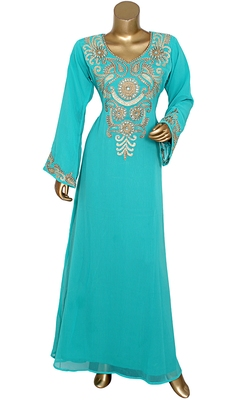 Mint Green Embroidered Crystal Embellished Traditional Chiffon Kaftan Gown