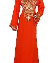 Orange Embroidered Crystal Embellished Traditional Chiffon Kaftan Gown