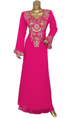 Fuchsia Pink Embroidered Crystal Embellished Traditional Chiffon Kaftan Gown