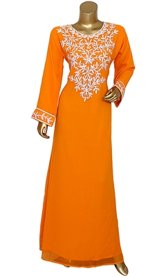 Orange Embroidered Crystal & Beads Embellished Traditional Chiffon Kaftan Gown