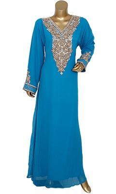 Turquoise Blue Embroidered Crystal & Beads Embellished Traditional Chiffon Kaftan Gown
