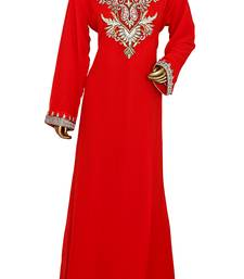 Red Embroidered Crystal Embellished Traditional Chiffon Kaftan Gown