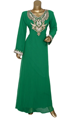 Green Embroidered Crystal Embellished Traditional Chiffon Kaftan Gown