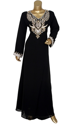 Black Embroidered Crystal Embellished Traditional Chiffon Kaftan Gown