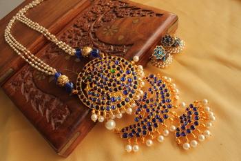 Beautiful Blue Double Pendant Temple Jewel Long Necklace Set