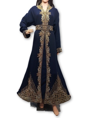 Navy blue georgette embriodery islamic kaftans