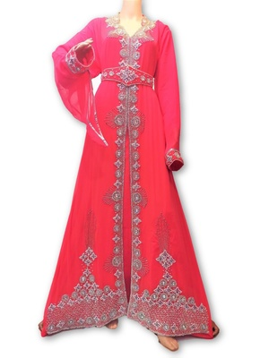 Pink georgette embriodery islamic kaftans