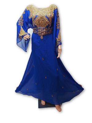 Royal blue georgette embriodery islamic kaftans