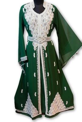 Bottle green georgette embriodery islamic kaftans