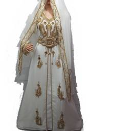 Cream georgette embriodery islamic kaftans