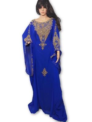Blue georgette embroidery islamic kaftans