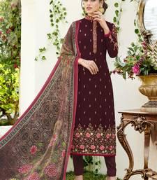 Buy Magenta embroidered georgette salwar with dupatta semi-stitched-salwar-suit online
