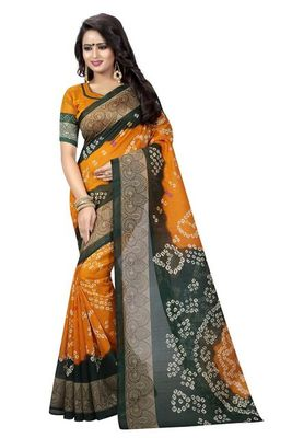 Orange printed bhagalpuri saree with blouse