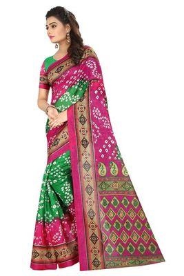Pink printed bhagalpuri saree with blouse
