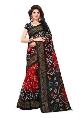 Black printed bhagalpuri saree with blouse
