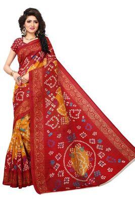 Red printed bhagalpuri saree with blouse