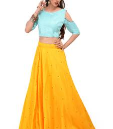 Buy Yellow stone dupion silk stitched lehenga with dupatta women-ethnic-wear online