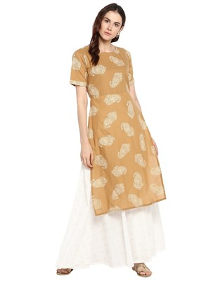 Beige printed cotton kurtis