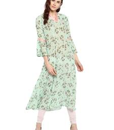 Sea-green printed georgette kurtis