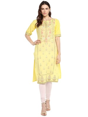 Yellow printed cotton kurtis