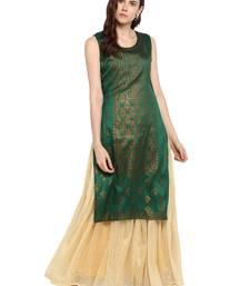 Green printed polyester kurtis