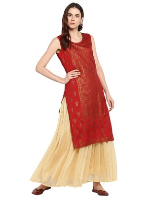 Red printed polyester kurtis