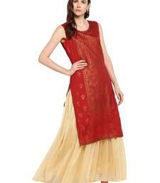 Red printed polyester kurtis