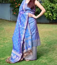 Buy Turquoise brocade banarasi brocade salwar dress-material online