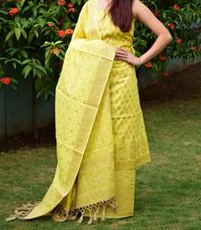 Buy Yellow brocade banarasi brocade salwar dress-material online