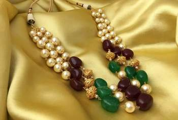 Royal Ruby Green 3 Line Golden Beads Mala Women