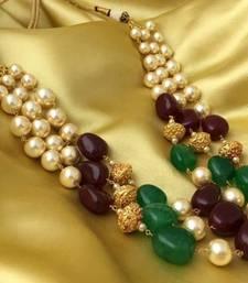 Royal Ruby Green 3 Line Golden Beads Mala Women