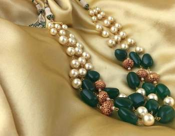 Royal Green 3 Line Golden Beads Mala