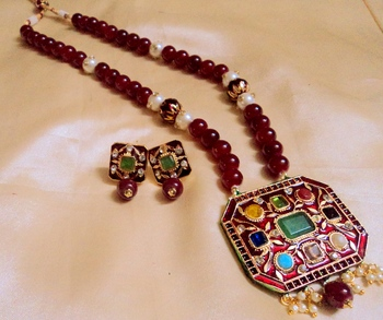 Navratna Ruby Jaipuri Necklace Set