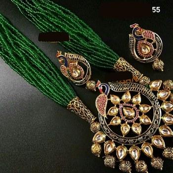 Elegant Peacock Kundan Necklace Set