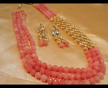 Royal Onex 3 Line Pink Necklace Set
