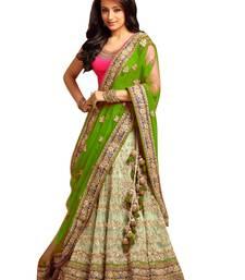 Buy Green lace net semi stitched lehenga lehenga-choli online