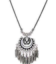 ZeroKaata Hanging Metallic Leaves Oxidized Tribal Jewellery Statement Necklace