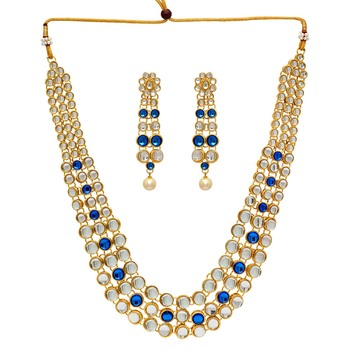 Festive Special Blue Color Kundan Necklace With Earring