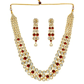 Wedding Collection Maroon Color Kundan Necklace With Earring